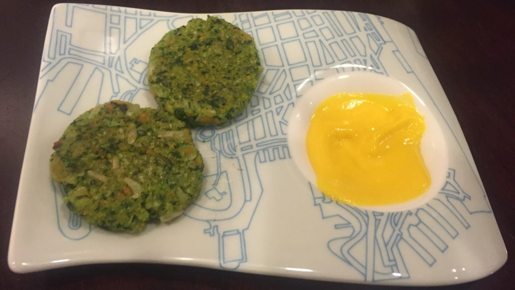 Kale and Carrot Rice Patties with Cauliflower Sauce